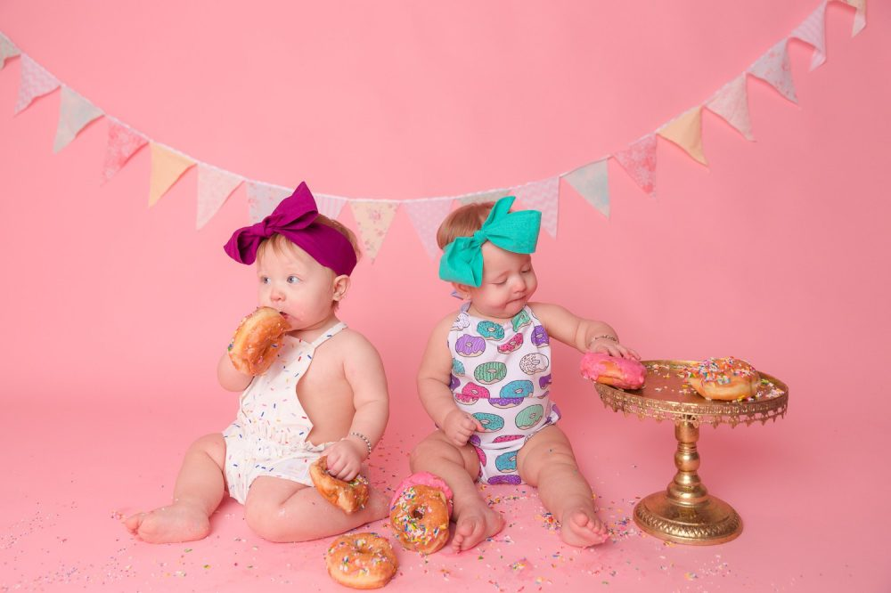 Twin Girls & Donut Kisses