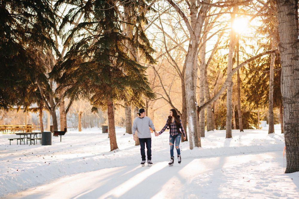 Skating in Snowy Edmonton