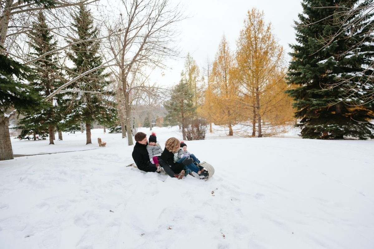 Sledding in an Edmonton Winter Wonderland