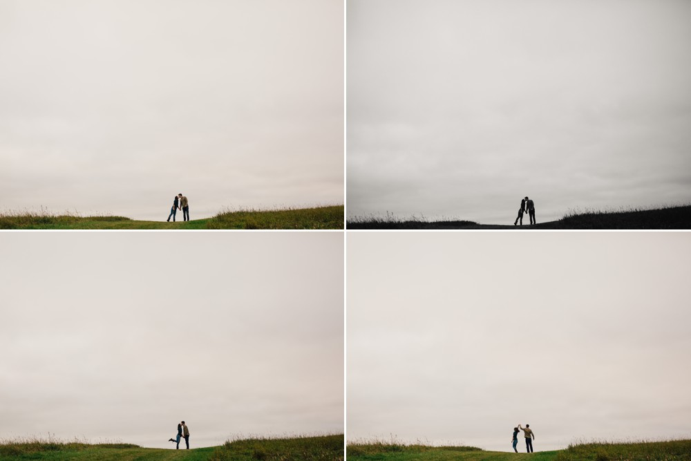 Roughley Originals Engagement session silhouette on a hill