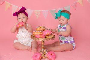 Twin Girls & Donut Kisses