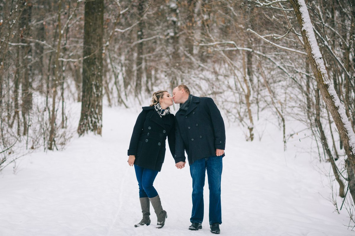 Shantel and Colten Winter Engagement by Roughely Origina in Mill Creek Ravine, Edmonton